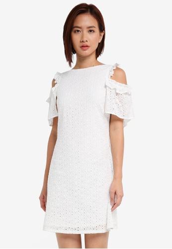 ZALORA white Cold Shoulder Ruffle Dress ACA0DAA22D2084GS_1