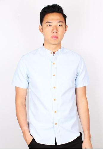 Moley blue Classic Mandarin Collar Short Sleeve Shirt D4BE1AA81B210EGS_1