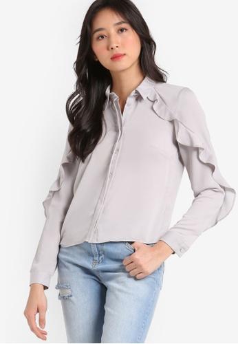 Miss Selfridge grey Petite Frill Shirt MI665AA89UNIMY_1