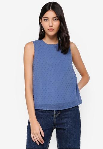 ZALORA blue Textured Sleeveless Top 6BF69AAC8859ACGS_1