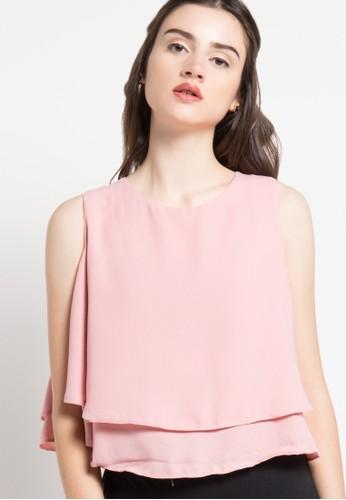 ECLAT APPAREL pink Sleeveless Layered Blouse EC565AA92OZRID_1