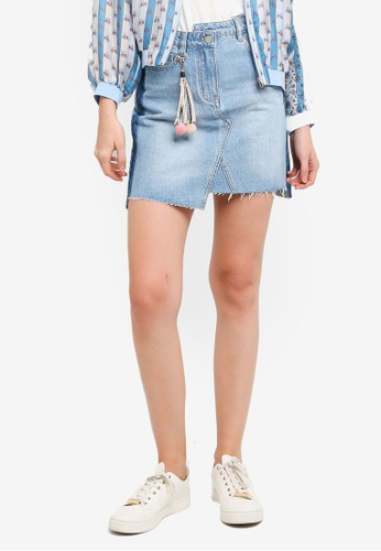 Hopeshow blue Ripped Hem Asymmetrical Hem Denim Mini Skirt DF0C4AA302E926GS_1