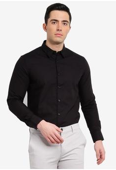 ed310bb4b Electro Denim Lab black Luxe Poplin Long Sleeve Shirt 218B3AAF848843GS 1