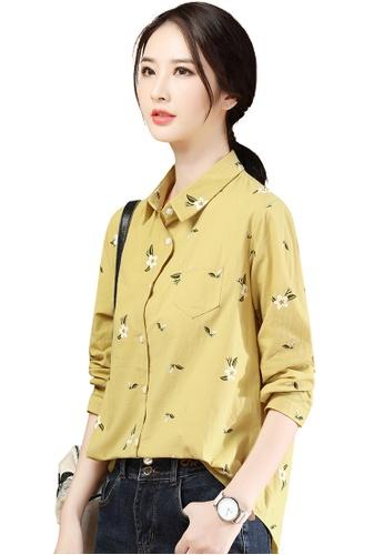A-IN GIRLS 黃色 時尚寬鬆印花襯衫 7D9FFAA0F9DE4CGS_1