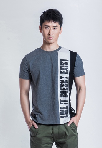 L.I.M.I.T.E black and grey and white Regular fit Trim fabric with printed TEE 35B34AAC0E8944GS_1