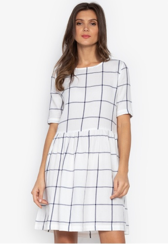 MARKS & SPENCER white Pure Cotton Checked Drop Waist Dress CE4C4AAD1FFCACGS_1