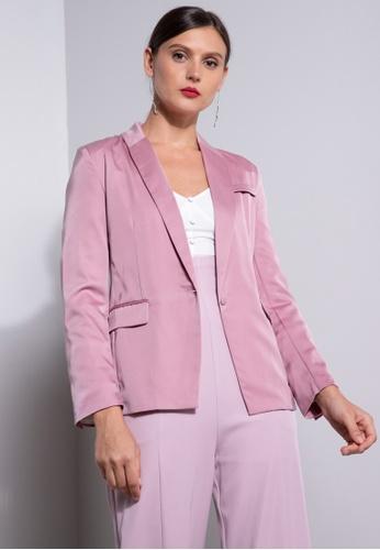 ZALORA OCCASION pink Satin Blazer F6887AA0F5484EGS_1