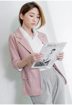 [IMPORTED] Retro Vibes Ladylike Blazer -- Pink
