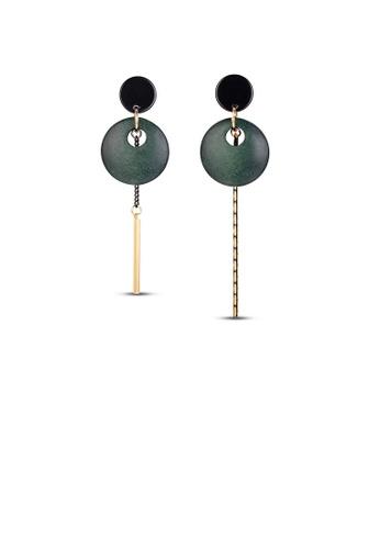 Glamorousky silver Personalized Hollow Asymmetric Green Earrings 7B54BACFEB7FBDGS_1