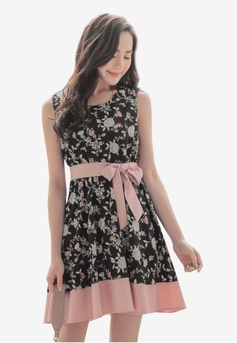 YOCO black and multi Floral Print Belted Dress C8F5CAAC0A7F45GS_1