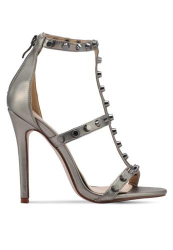 MISSGUIDED grey Round Stud T Bar Sandals MI511SH0SP80MY_1