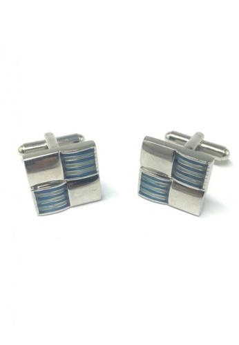 Splice Cufflinks blue and silver Blue Stripes 3D Square Cufflinks  SP744AC45ENESG_1