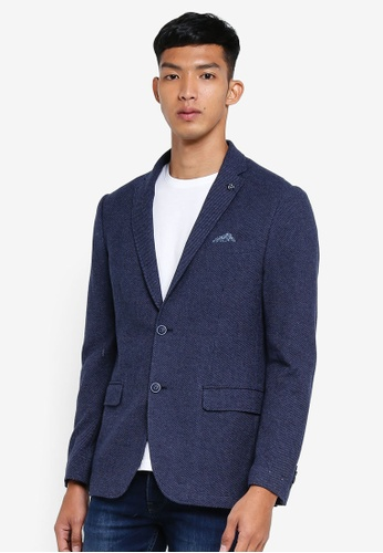 OVS blue and navy Formal Blazer 6AC8EAAACED110GS_1