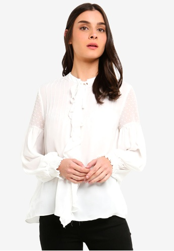 OVS white Blouse With Pleating And Polka Dot Tulle 7C197AA9A3F071GS_1