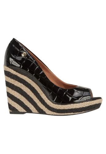 Beira Rio black Peep Toe Patent Croco Design Wedge VI997SH39EUAHK_1