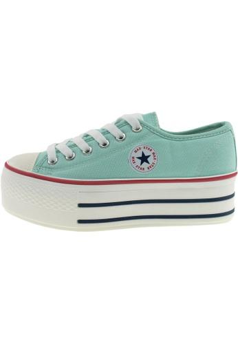 Maxstar 綠色 新款韩国鞋C50-6H時尚帆布布混合女浅蓝色 US Women Size MA345SH72GUHTW_1