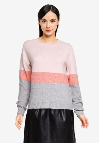 Vero Moda pink Doffy Long Sleeves Colour Block Sweater 39B40AAA41DCBFGS_1