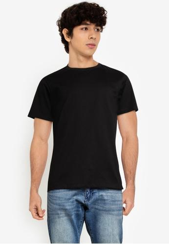 URBAN REVIVO black Basic Short Sleeves T-Shirt A7106AA1FCCB9DGS_1