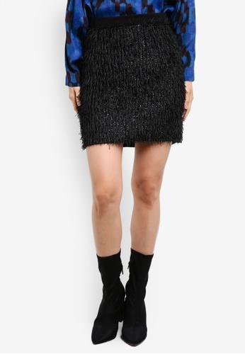 Mango black Fringed Skirt MA193AA0SD1CMY_1