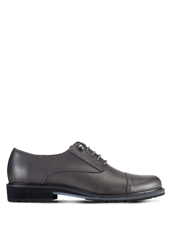 ZALORA grey Faux Leather Oxford Dress Shoes B902EAAA4A959BGS_1