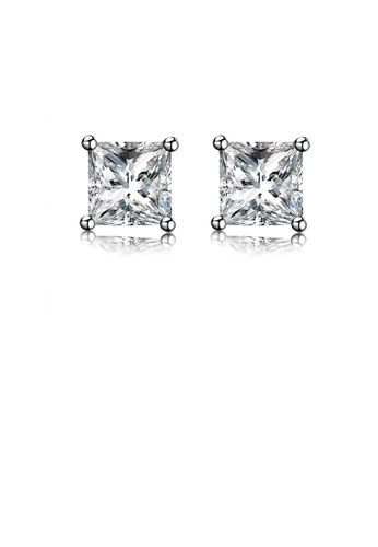 Glamorousky white 925 Sterling Silver Sparkling Simple Elegant Fashion Luxury Princess Cut Sqaure Studs and Earrings with Cubic Zircon 51231AC8C14440GS_1