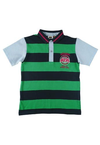 KIDS ICON black and green Kids Icon - Kemeja Polo Anak Laki - Laki 4-14 Tahun Batman With Stripe Detail Short Sleeve - BM200100200 DA681KAEA4F484GS_1
