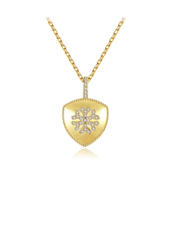 Glamorousky white Fashion Simple Plated Gold Snowflake Geometric Pendant with Cubic Zirconia and Necklace C5451ACA600F91GS_1