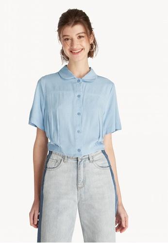 7e5709fc Buy Pomelo Cropped Button Down Shirt - Light Blue Online on ZALORA ...