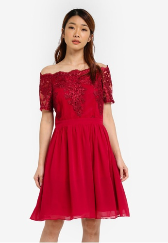 Dorothy Perkins red Erin Bardot Dress DO816AA0SJ67MY_1