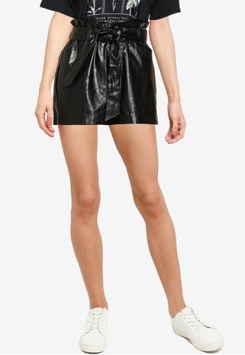 Miss Selfridge black Petite Black PU Paperbag Shorts 7EA1CAA271B9BCGS_1