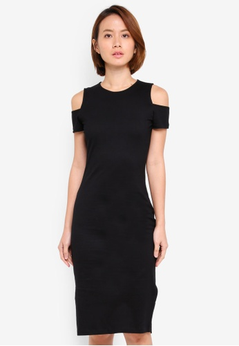 ZALORA BASICS black Cold Shoulder Bodycon Jersey Dress C616EAA01E980FGS_1