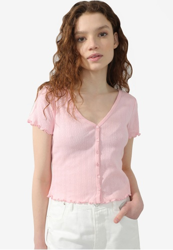 PIMKIE pink Lettuce Trim Button Ribbed Top E708BAACC70969GS_1