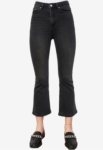Trendyol 黑色 High 腰圍 短版Flare 牛仔褲 0C613AADC48601GS_1