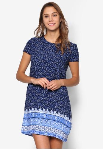 印花直筒短袖連身裙、 服飾、 洋裝Factorie印花直筒短袖連身裙最新折價