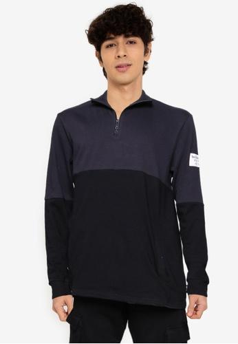Only & Sons navy Ace Regular Long Sleeve Half Zip Sweatshirt 73B7CAAF2AF074GS_1