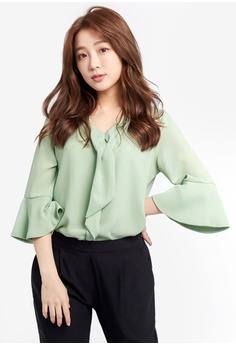 6b9c65732b16f Tokichoi green Chiffon Blouse With Bell Sleeves A4CEAAAD34D3C1GS 1