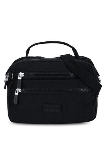 Bagstationz black Crinkled Nylon Convertible Satchel Bag 28211AC987893EGS_1