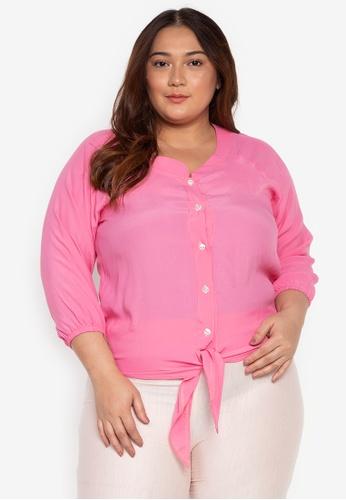 377e062252f72e Shop Multiples Rina Tie-Front Plus Size Blouse Online on ZALORA ...