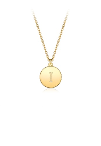 Glamorousky silver Fashion Simple Plated Gold Letter I Round Pendant with Necklace 4F307AC71DE9FBGS_1