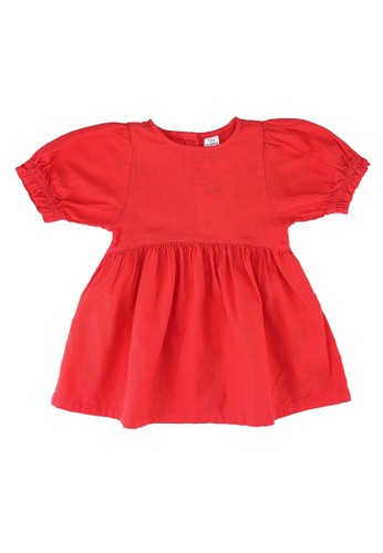 LC Waikiki red Puff Sleeves Dress 5B483KACC1DDD2GS_1