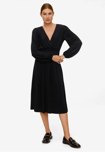 Mango black Crepe Midi Dress DD9EFAAFFF850BGS_1