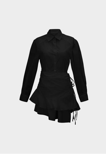Pomelo black Mini Puff Sleeve Tiered Ruffle Dress - Black FC024AA5827BDCGS_1