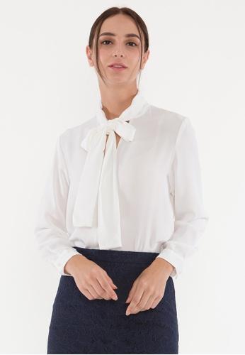 Plain B. white Plain B. Collar-Tie Blouse/Shirt With Long Sleeve 7EDE6AABEA0568GS_1