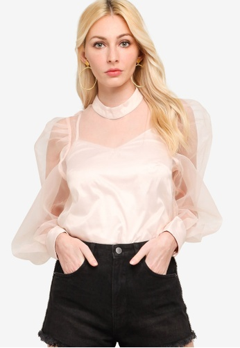 Guess pink Long Sleeves Hortensia Top F62E6AACC78F84GS_1