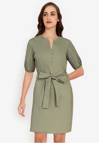 ZALORA WORK green Notch Neck Puff Sleeves Dress CAF7CAAB9322E7GS_1