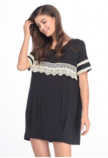 MOOIMOM Short Sleeves Maternity   Nursing T-Shirt Dress With Lace Baju  Hamil - Black fa81ee469c