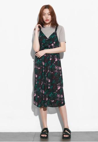 花卉褶飾無袖洋裝, esprit台灣outlet服飾, 洋裝