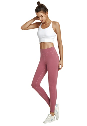 B-Code pink ZWG1103a-Lady Quick Drying Running Fitness Yoga Leggings-Pink F7C52AAC1073BAGS_1