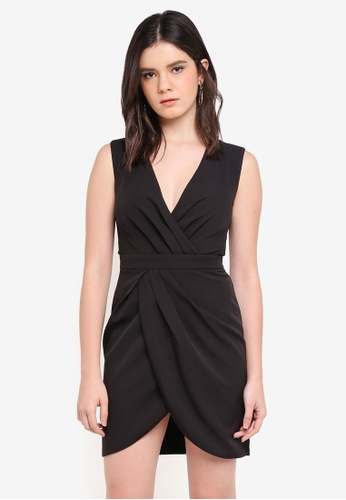 ZALORA black Wrap Pleated Dress A4760AADD3B6E0GS_1