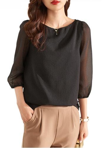 HAPPY FRIDAYS black Textured Chiffon Mid Sleeve Blouse JW ZX-60178 D0EA2AA9BB519EGS_1